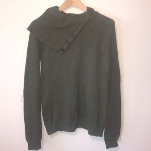 GAP Weathered Green Button Cowl Sweater Sz L